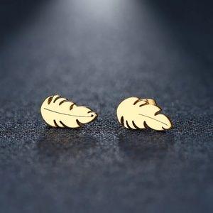 Feather leaf studs , tiny gold earrings new boho